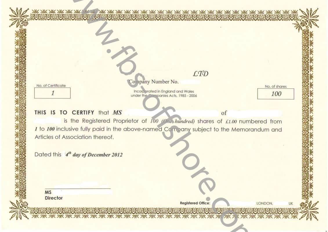 Сертификат акций (Share certificate)